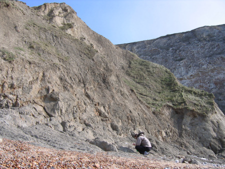 Lucinda Shepherd fossil hunting at Alum Bay