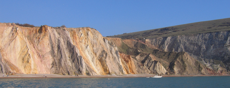 Vertical sandy layers in the cliffs at Alum Bay