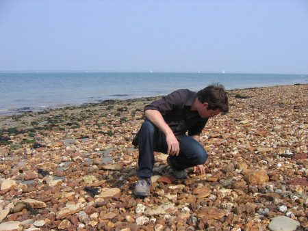 Roy Shepherd fossil hunting at Bouldnor