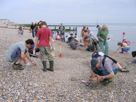 Fossil hunters on the beach at Bracklesham Bay