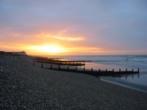 Bracklesham Bay beach and sunrise