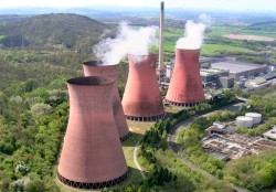Power stations burn fuel to produce energy