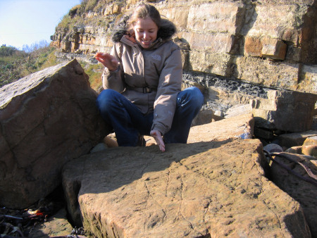 Lucinda Shepherd with Arthropleura trackway at Crail