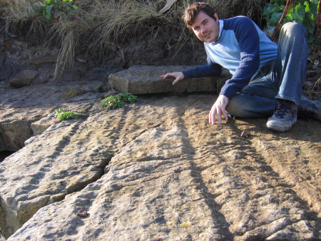 Roy Shepherd with Arthropleura trackways left in the prehistoric sediment