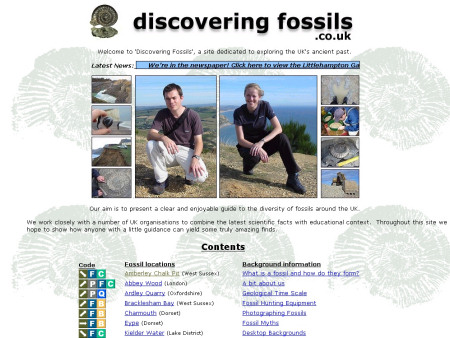Early screenshot of Discovering Fossils website