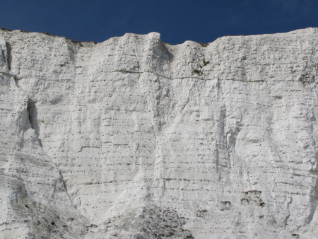 Horizonal bands of flint in the cliffs near Dover