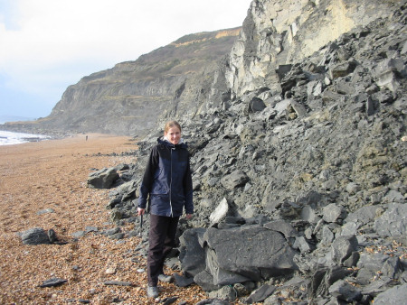 Lucinda Shepherd fossil hunting at Seatown