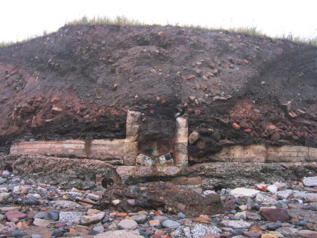 East Wemyss building remains eroded out of the cliff