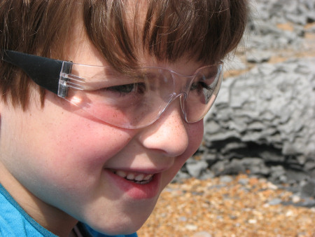 Fossil hunting safety glasses