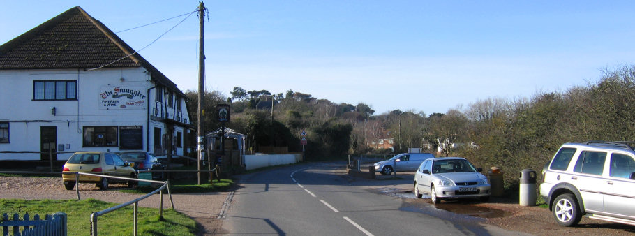 Fairlight roadside parking alongside The Smuggler pub