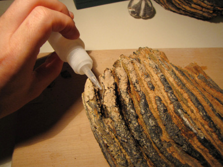 A liquid superglue is used to consolidate weak areas of a mammoth tooth