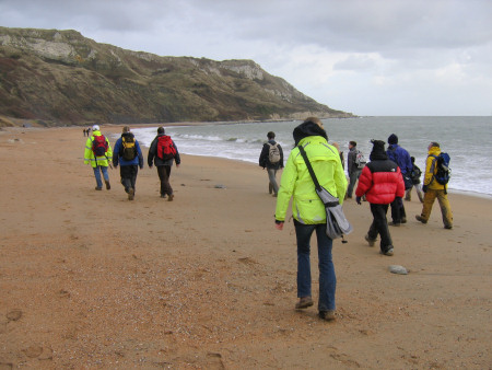 Lucinda Shepherd fossil hunting at Osmington Mills