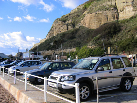 Roadside parking along Rock-a-Nore Road in Hastings