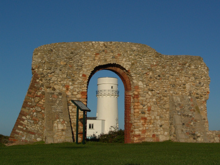 St Edmund's Chapel and the lighthouse at Hunstanton