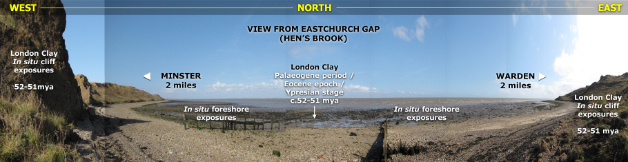 Geology panoramic across the beach from Eastchurch Gap at Warden Point by Roy Shepherd