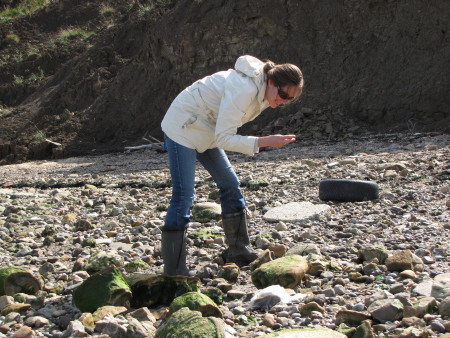 Lucinda Shepherd fossil hunting at Warden Point