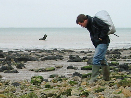 Roy Shepherd fossil hunting at Warden Point