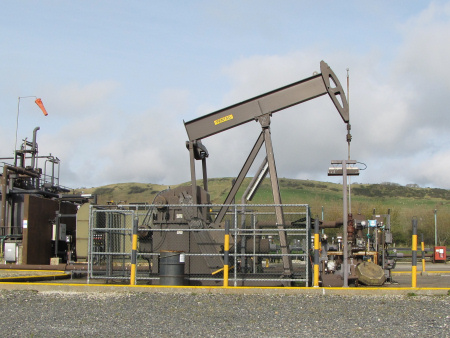 Close-up of BP oil well at Kimmeridge
