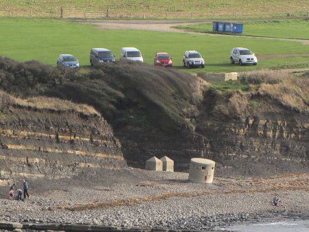 Kimmeridge cliff-top car park above the beach