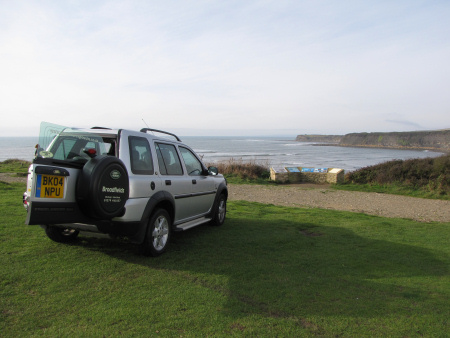 Roy Shepherd Silver Land Rover Freelander at Kimmeridge car park