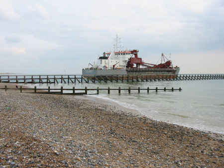 Gravel ship leaving Littlehampton along the River Arun