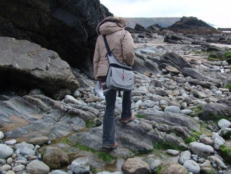 Lucinda Shepherd fossil hunting at Marloes Sands