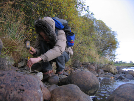 Lucinda Shepherd fossil hunting at the River Brora