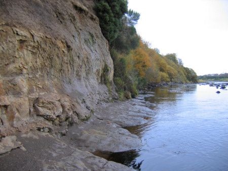 Exposed Jurassic rocks alongside the River Brora