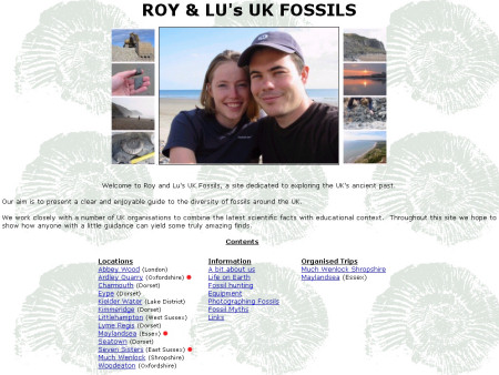 Early screenshot of Roy and Lu's UK Fossils prior to Discovering Fossils rebranding