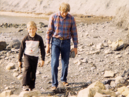 Roy Shepherd and Michael Shepherd fossil hunting at Kimmeridge
