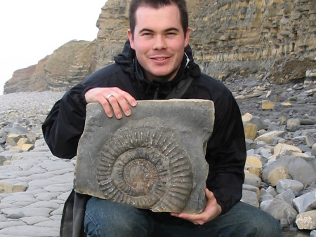 Roy Shepherd with an ammonite at Quantoxhead Dorset