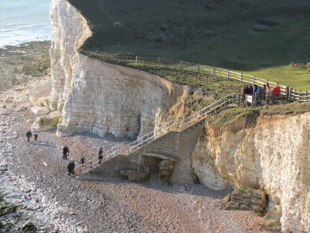 Seaford Head steps leading down to the beach