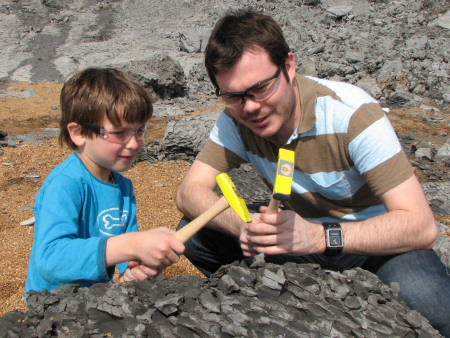 Roy Shepherd provides fossil hunting guidance at Seatown