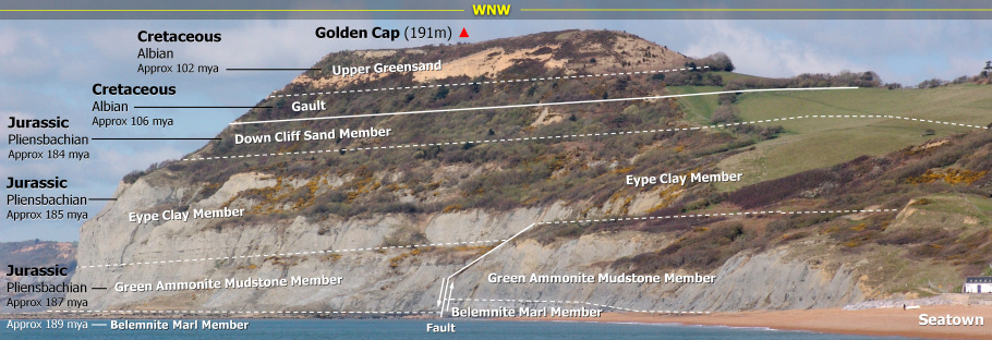 Geology panoramic of Golden Cap at Seatown by Roy Shepherd