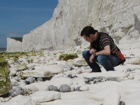 Roy Shepherd examining the chalk exposed on the foreshore at Seven Sisters
