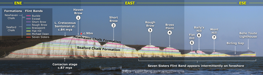 Geology panoramic of Seven Sisters cliffs by Roy Shepherd