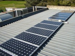 Solar panels convert sunlight into electricity