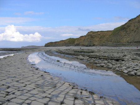 Dramatic limestone foreshore at Quantoxhead