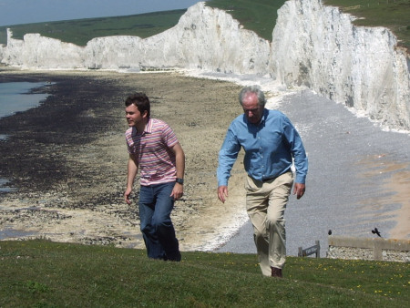 Roy Shepherd and Des Lynam discussing the fossils at Seven Sisters for Britain's Favourite View ITV