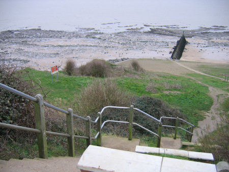 Public footpath and steps leading down to the beach