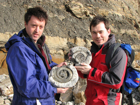 Roy Shepherd and Andy Holmes ammonites at Osmington Mills