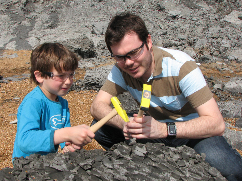 Roy Shepherd fossil hunting at Seatown